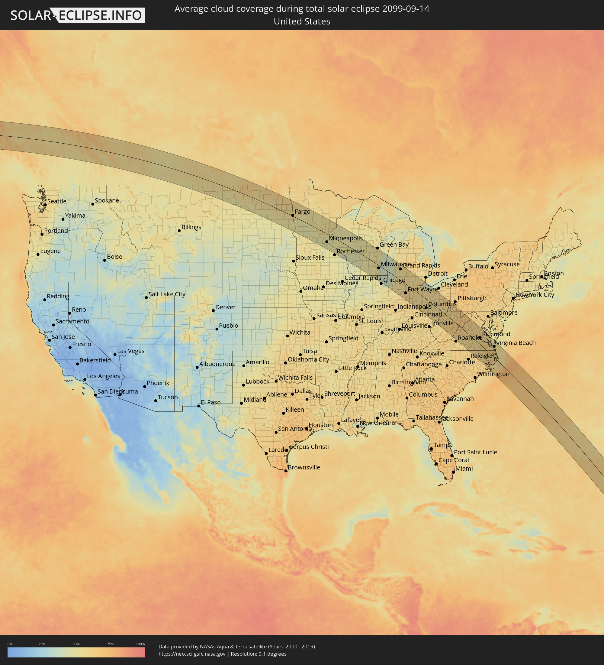 The Total Solar Eclipse Of - Us cloud cover map