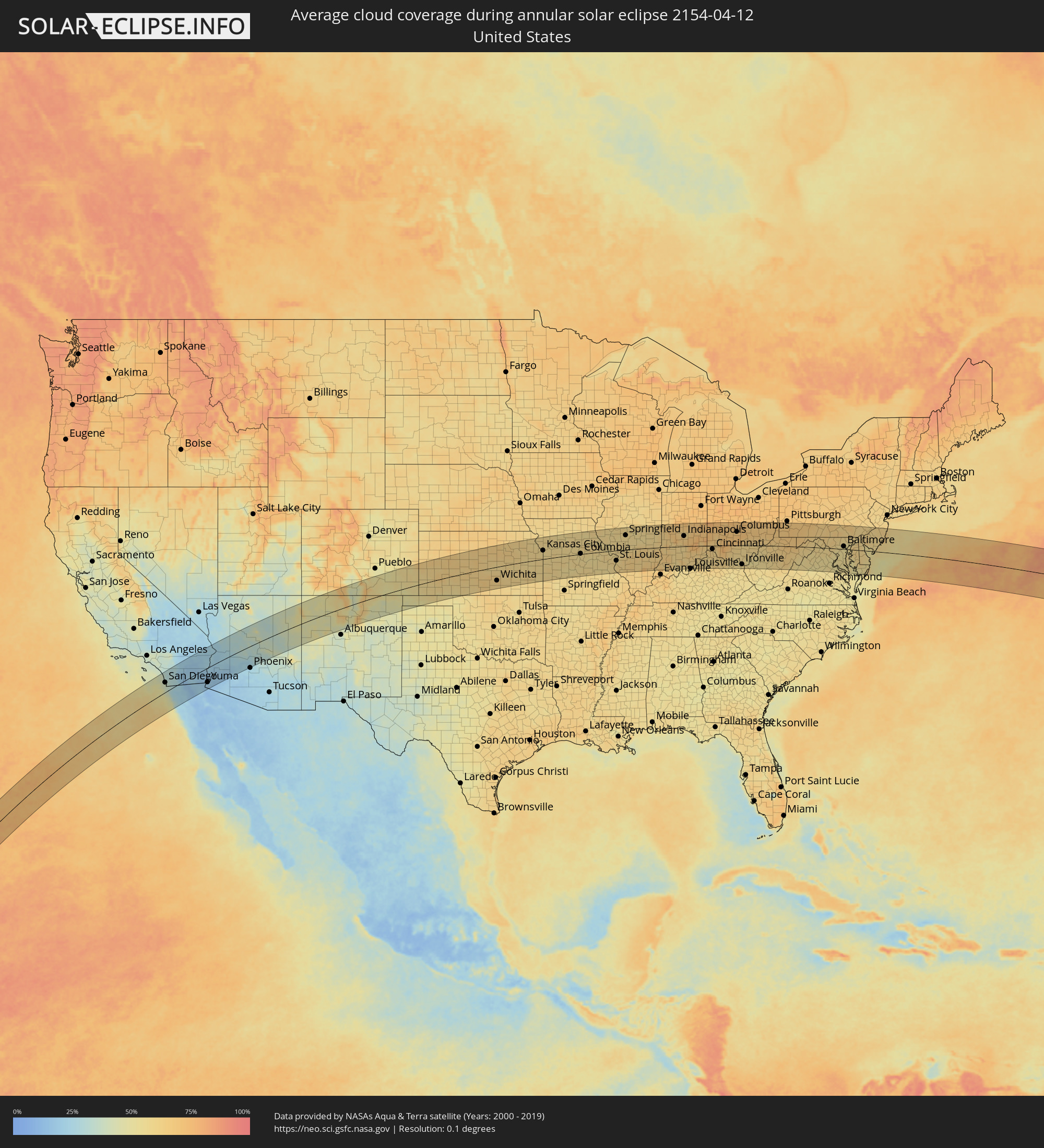 The Annular Solar Eclipse Of 04122154 - Us-cloud-cover-map