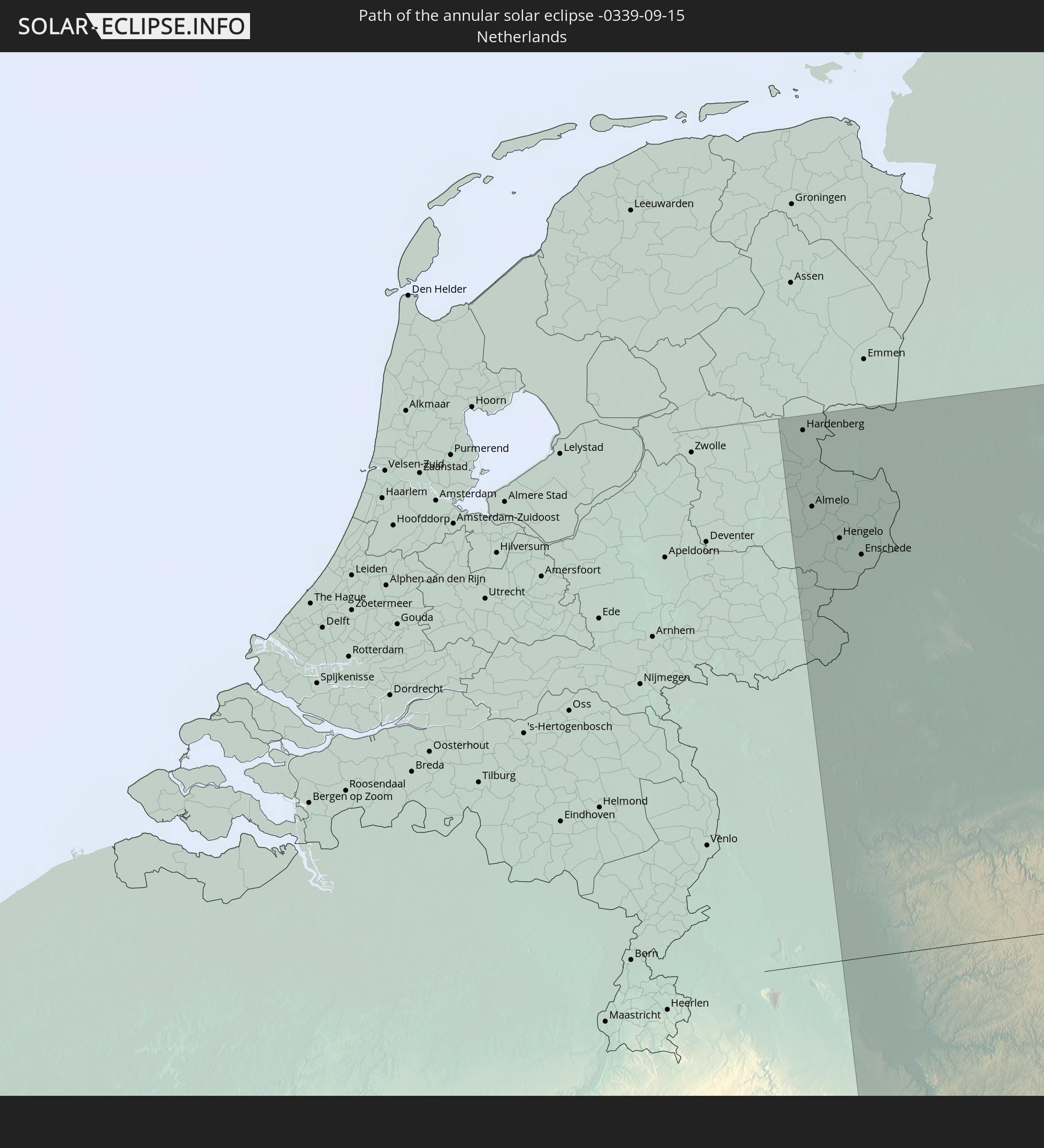 worldmap Netherlands The annular solar eclipse of