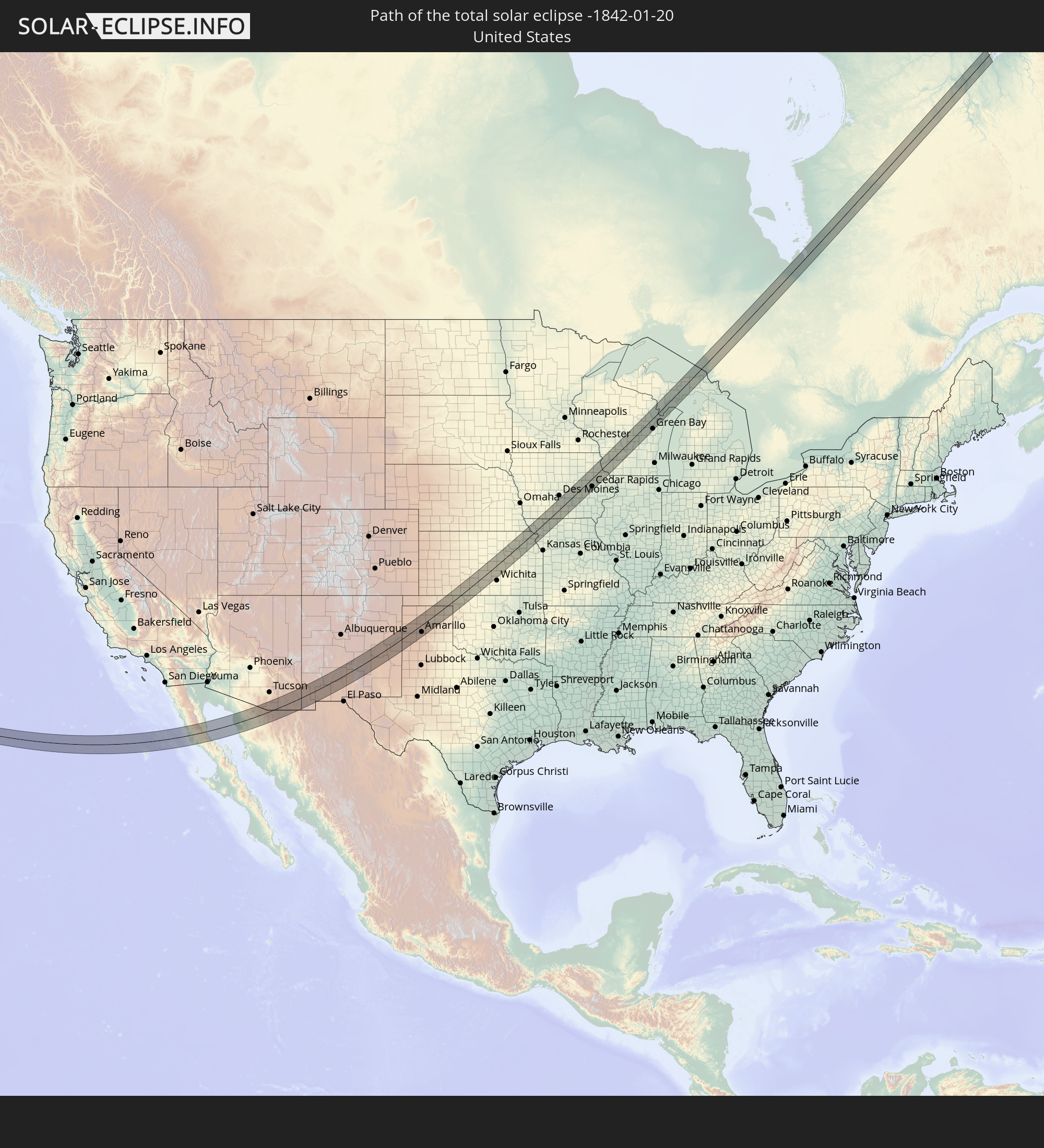 The total solar eclipse of 01/20/-1842