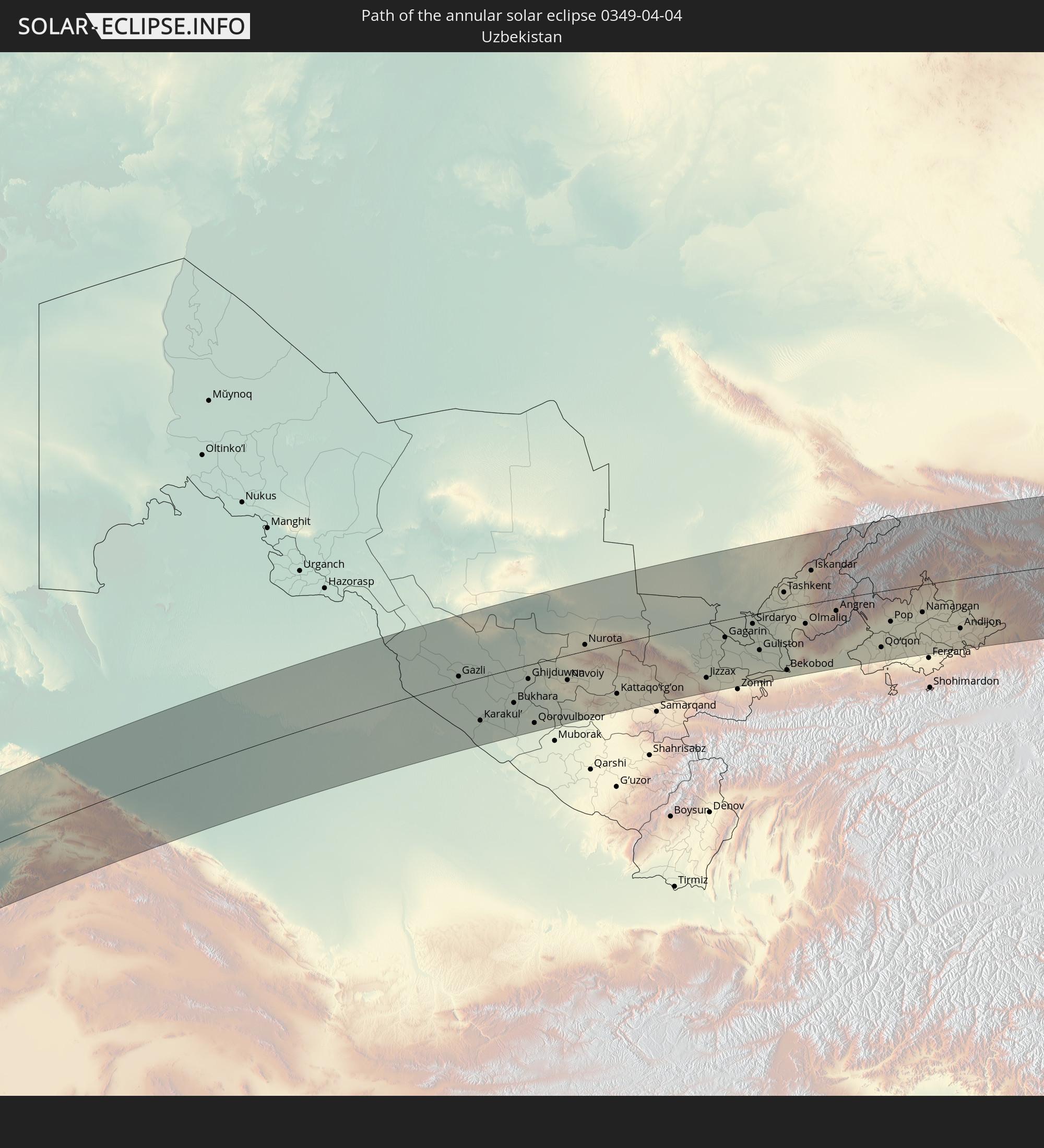 The Annular Solar Eclipse Of - Olmaliq map