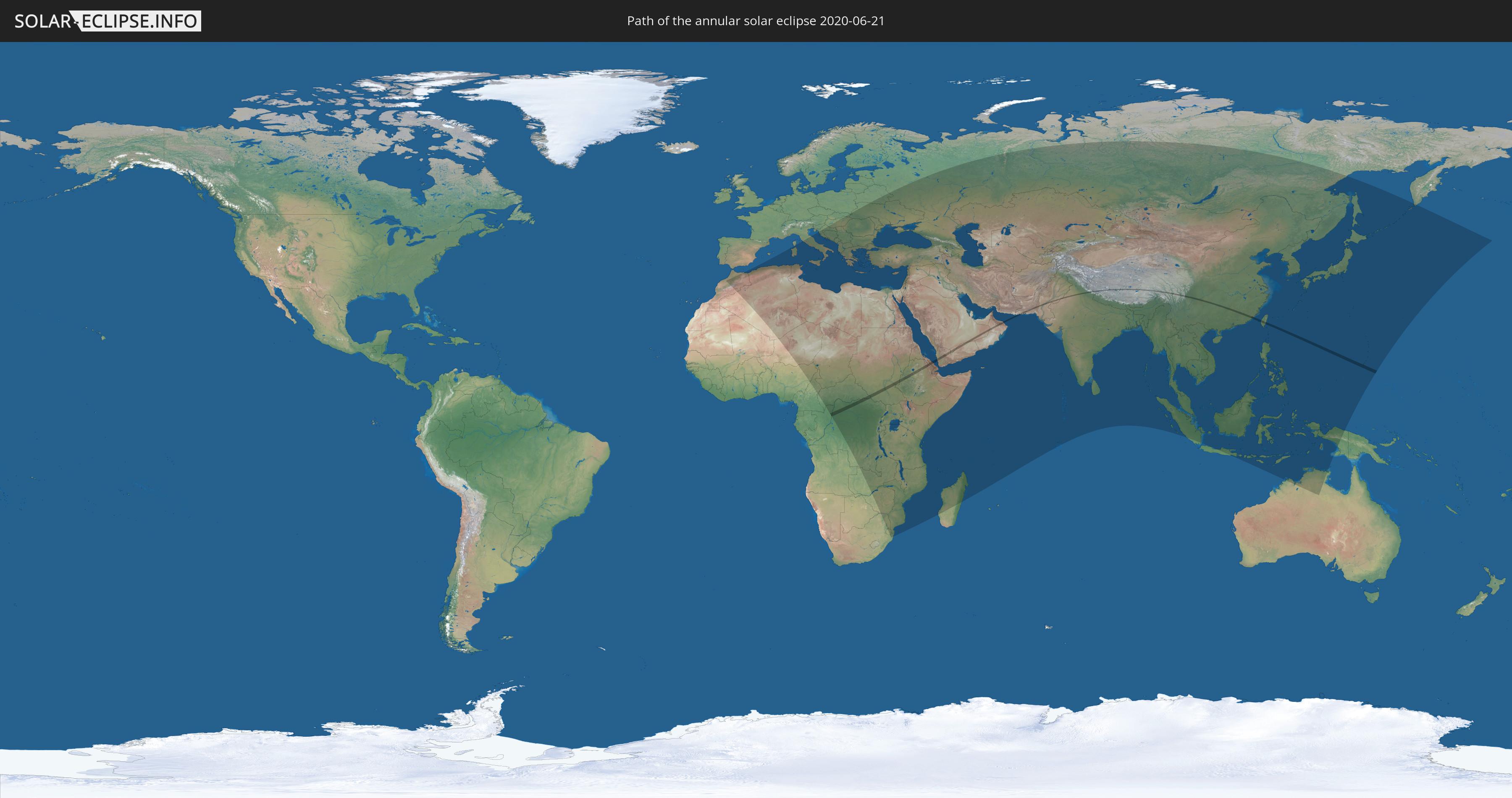 Solar Eclipse 2020 World Map Annular solar eclipse of 06/21/2020